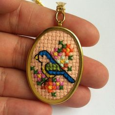 Blue Bird and Flowers Cross Stitch