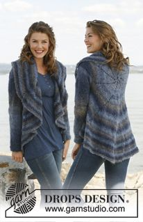 "Knitted DROPS jacket worked in a circle in ""Verdi"". Size: S to XXXL ~ DROPS Design"