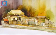 Ioana Mihăiescu - Peisaj rural / Countryside, 40 x 35 cm, acuarelă / watercolour Watercolor, Romania, Countryside, Artwork, Painting, Pen And Wash, Watercolor Painting, Work Of Art, Auguste Rodin Artwork
