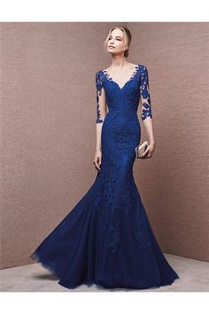Mermaid V Neck Sheer Back Royal Blue Lace Sleeve Evening Dress With Buttons
