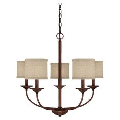 Cast a warm glow over your foyer or dining room with this candelabra-inspired chandelier, showcasing a burnished bronze finish and fabric drum shades.