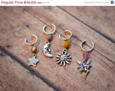 SPRING SALE Sun Moon Star Fairy Ear Cuffs // Wiccan Accessories // Pagan Jewelry // Boho Accessories // No Pierce Earrings