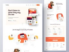 Travel Community App Landing Page by Farzan Faruk 👑 on Dribbble App Landing Page, Landing Page Design, Marketing Website, Fashion Business, Planning App, Sports Website, Web Design Inspiration, Design Ideas, Mobile App