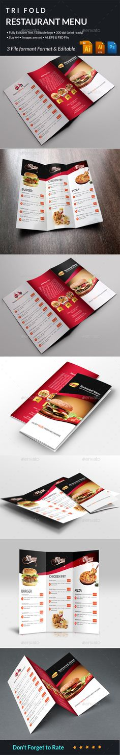 Restaurant Food Menu Tri Fold — Photoshop PSD #modern menu #corporate • Available here → https://graphicriver.net/item/restaurant-food-menu-tri-fold/13510764?ref=pxcr