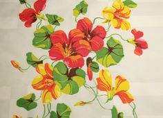 Wilendur Nasturtiums Vintage Tablecloth Piece by ChenilleBliss