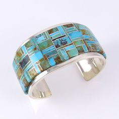 Turquoise Soul  . . .    Channel Inlaid Turquoise Cuff by Tommy Jackson, Navajo, inlay with Bisbee, Kingman, Royston and Sleeping Beauty turquoise, sterling silver