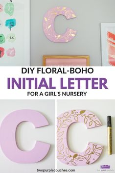 Make your own creative nursery letter wall decor for a baby girls room. Paint your own decorative initial with this tutorial! Initial Wall, Letter Wall Decor, Nursery Letters, Diy Letters, Letter A Crafts, Nursery Wall Decor, Nursery Boy, Painted Initials, Painted Letters