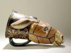 Rhyton en forme de tête d'anê - Production : Athènes Vers 500-480 avant J.-C.