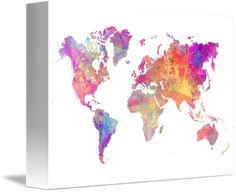 """""""Map of the world pastel"""" by JBJ Art, Krakow // Map of the world pastel // Imagekind.com -- Buy stunning fine art prints, framed prints and canvas prints directly from independent working artists and photographers."""