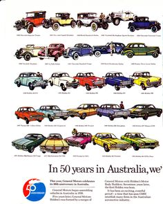 The 50 year history of General Motors in Australia from 1926 Chevrolets, Pontiacs, Cadillac, Vauxhall ect to the 1976 full size HX Holden, LX Torana & TX Gemini. Car Pictures, Car Pics, Holden Australia, Australian Muscle Cars, Australian Vintage, General Motors, Vintage Advertisements, Old Cars, Cadillac