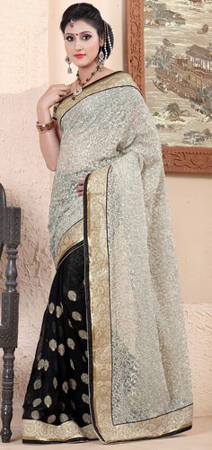 USD 77.84 White Net Half and Half Party Wear Saree 44072