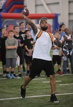 "New York Giant Odell Beckham Jr. attends Nickelodeon And The New York Giants Host Tryouts For The ""Triple Shot Challenge: Kids' Choice Sports $50,000 Perfect Pass Challenge"" on June 11, 2016 in East Rutherford, New Jersey."