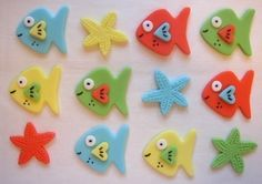 Tropical Fish Fondant Cupcake Toppers