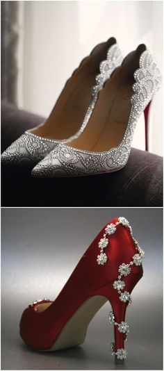 Red and white christmas wedding shoes