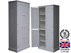 heartland direct 100% Solid Wood Cupboard, 188 cm Tall White Painted 4 Door Pantry/Larder/Linen/Kitchen Cabinet. No flat packs, No assembly (CUP11P)