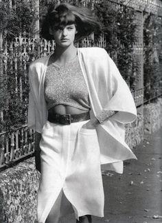 "lelaid:  "" Linda Evangelista by Alex Chatelain for Vogue Paris, February 1986  """