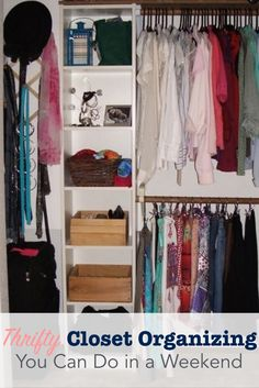 I love clothes, and needed a cheap way to make more room in my bedroom closet.  Check out this DIY transformation to steal these closet organization ideas and tips.
