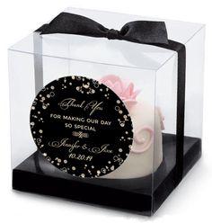 Champagne Macaron Favor Box with Sticker | Wedding Favor