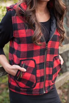 The Pink Lily Boutique - Red Plaid Hooded Vest, $50.00 (http://thepinklilyboutique.com/red-plaid-hooded-vest/)