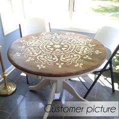 Mandala Style Stencil - Floral Motive Wall Stencil - Original And Uniq – Stenc. Mandala Style Stencil - Floral Motive Wall Stencil - Original And Uniq – StencilsLab Wall Stencils and Decals Old World Furniture, Refurbished Furniture, Repurposed Furniture, Table Furniture, Furniture Makeover, Painted Furniture, Home Furniture, Furniture Stores, Furniture Design