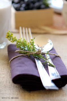 Herb sprig place setting