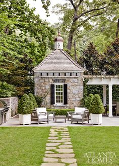 We have just returned from a little warm weather getaway before the launch of Lies and Other Acts of Love and are already missing the warmth and beauty of the area. This new pool house in Atlanta designed by the incomparable D. Stanley Dixon and John How Outdoor Areas, Outdoor Rooms, Outdoor Living, Outdoor Structures, Outdoor Seating, Backyard Seating, Outdoor Patios, Outdoor Kitchens, Outdoor Furniture