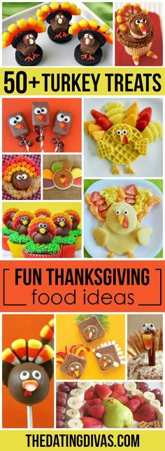 Fun Thanksgiving Food Ideas! Including breakfast, snack, lunch, and dessert ideas for Thanksgiving! I think the cute turkey trays are my favorite!