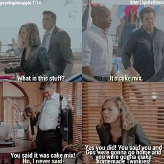 It's cake mix.it's actually a dead guys ashes. Psych Memes, Psych Quotes, Psych Tv, Watch Psych, Memes Humor, Funny Quotes, Movies Showing, Movies And Tv Shows, Real Detective