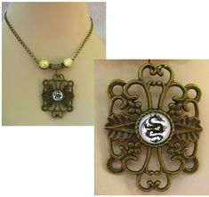 Burnished Gold Celtic Dragon Necklace Jewelry Handmade NEW Chain Accessories