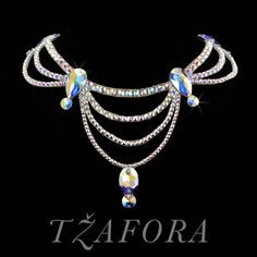 """After You're Gone"" - Swarovski ballroom necklace. Ballroom dance jewelry, ballroom dance dancesport accessories. www.tzafora.com Copyright ©️️ 2017 Tzafora."