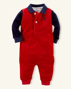Color-Blocked Velour Coverall - Baby Boy One-Pieces - RalphLauren.com
