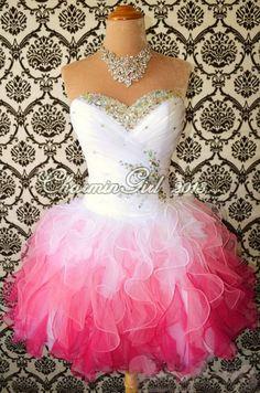 Sweetheart#charming White/Red Mini Rhinestone Organza prom dress/homecoming dress