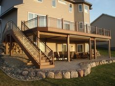 Second Floor Deck with Screened in Porch Design and Stairs - Decomagz Patio Under Decks, Decks And Porches, Deck Building Plans, Building A Porch, Building Homes, Deck Plans, Second Story Deck, Screened Porch Designs, Screened Porches