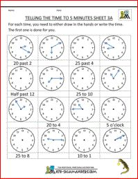 Time Worksheets - Telling Time to 5 Minutes Sheet Year 3 Maths Worksheets, Clock Worksheets, Math Activities For Kids, Fun Math, Math Resources, Printable Worksheets, Printables, School Resources, Math Games