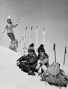 Ski fashion in the 60's. Photo by Bj�rn Finstad, Hemsedal, Norway. #Skiing -- Find articles on adventure travel, outdoor pursuits, and extreme sports at http://adventurebods.com