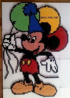 Mickey Mouse hama perler beads by Deco. Mickey Mouse Crafts, Mickey Mouse And Friends, Minnie Mouse, Cute Cross Stitch, Cross Stitch Charts, Cross Stitch Designs, Hama Beads Design, Hama Beads Patterns, Disney Micky Maus