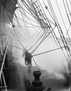 Driving sprays over the main deck of the 'Parma' by National Maritime Museum