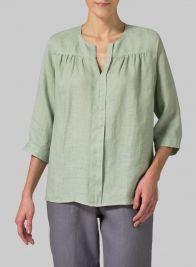 Linen Three Quarter Sleeve Blouse Light Moss Green