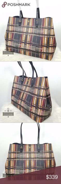 51242867b09e Tory Burch Kerrington square tote plaid philly Bag 100% Authentic  amp  New Tory  Burch