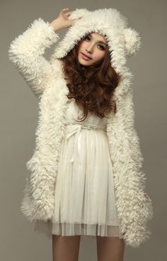 Sweet Fluffy Long Sleeves Hooded Women's White Faux Fur Coat (WHITE,ONE SIZE) | Everbuying.com
