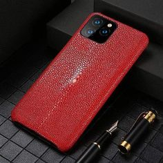 Genuine Leather case For Iphone 11 pro max Original Stingray leather back cover For iphone 11 case xr xs max 7 8 coque fundas - For iphone se, Red - & Iphone Leather Case, One Piece Swim, Skin Case, Iphone Models, Leather Material, Natural Leather, Iphone Se, Protective Cases, Cover Design