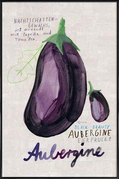 Aubergine/Eggplant postcard in Illustrator, Poster Online, Art Mural, Food Illustrations, Eggplant, Canvas Wall Art, Artist, Website, Drawing