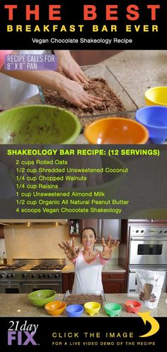 Autumn's favorite 21 Day-Fix Shakeology Breakfast Bar! red, blue Makes 12 Bars (healthy breakfast meal prep 21 day fix) Shakeology Chocolat, Vegan Chocolate Shakeology, Best Breakfast Bars, 21 Day Fix Breakfast, Vegan Breakfast, Homemade Breakfast Bars, Breakfast Ideas, 21 Day Fix Diet, 21 Day Fix Meal Plan