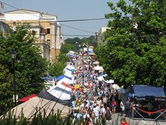 Downtown is booming during the annual Iris Festival  weekend in Greeneville Tennessee each year