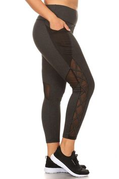 3c107b8edfaa9 Women s Athletic Leggings with Mesh and Cross Cutouts - Plus Size in  Charcoal