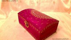 Maid of Honor Keepsake/Jewelry Box in by HennaCreationsofeNVy.#mehndi #mehndibox #henna #hennabox #mehndiartist #thaals #thaal #weddingthaal #decor #homedecor #weddingdecor #mehndidecor #box #jewelrybox #boho #bohemian #bohemianbox #bohobox #moroccanstylebox #indiangifts #indianbox #hinduwedding #indianweddinggifts #toronto #bramptonstyle #golddesign #hennadesign #mehndidesign #mehndiinspired #arabicmehndidesign #hennaartist #hennaparty #torontohenna #hennainspire #hennacreationsofenvy