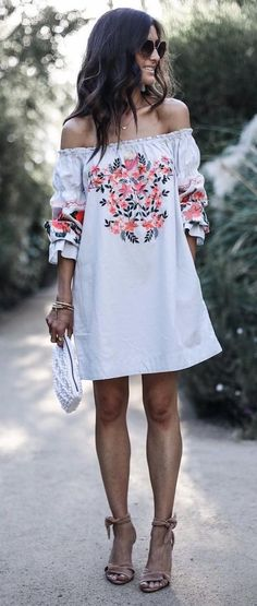 #summer #outfits  White Floral Embroidered Mini Dress + Nude Sandals
