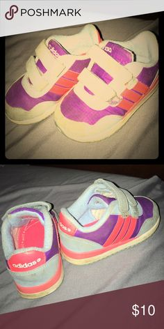 Adidas tennis shoes These are in good condition. Has some wear but still have life left in them! My daughter just grew out of them. Super adorable, wish they had these in my size😁😁 Adidas Shoes Sneakers