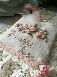 Embroidery Motifs, Rose Embroidery, Embroidered Roses, Pin Cushions, Applique, Lavender, Reusable Tote Bags, Stitch, Beads