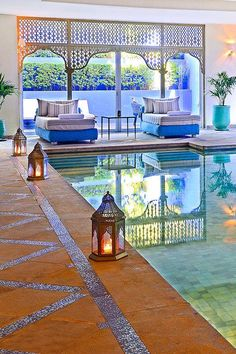 The chic indoor pool at the spa is surrounded by Moroccan lanterns and lounge beds. Sofitel Marrakech Lounge and Spa (Marrakech, Morocco) - Jetsetter